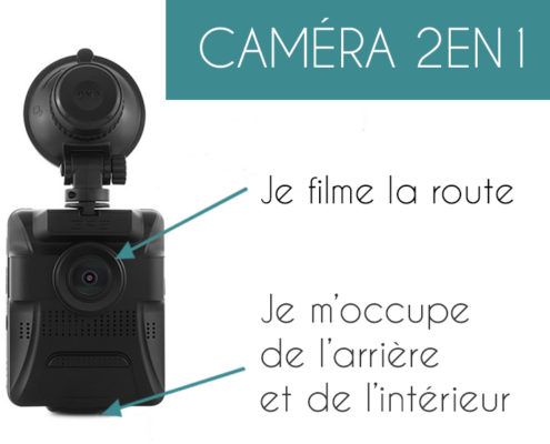 Mobilicam - Modèle CAMPRO -caméra embarquée 2en1 - vision interieu et exterieur de la voiture